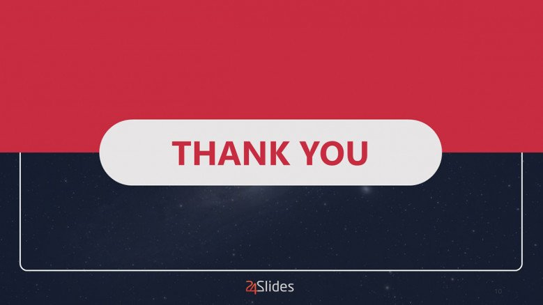 Blue and red thank you slide in creative slide