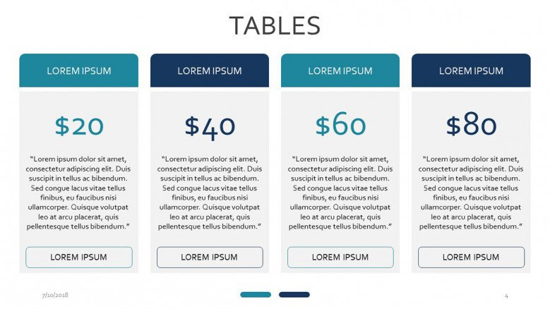 four set subscription table slide with text