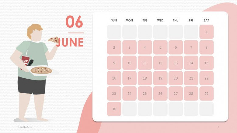 creative June slide in pink with people illustration