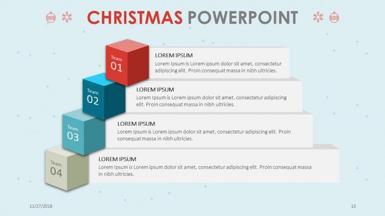 creative christmas theme process chart in four stages