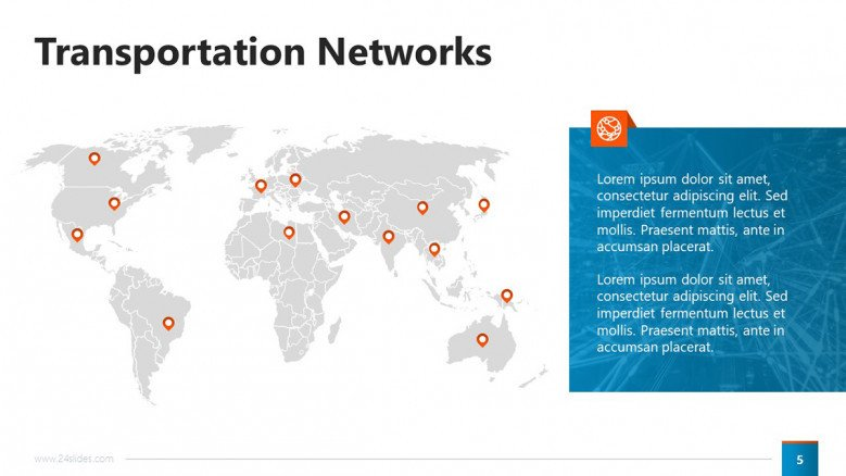 Transportation Networks Slide with world map and pointers