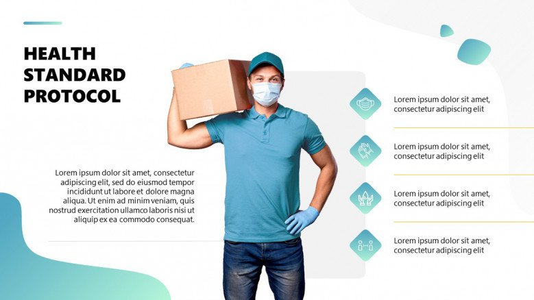 Safe Food Protocol with delivery person holding a package