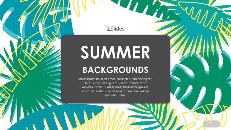 Tropical Summer PowerPoint Background featuring palm trees illustrations