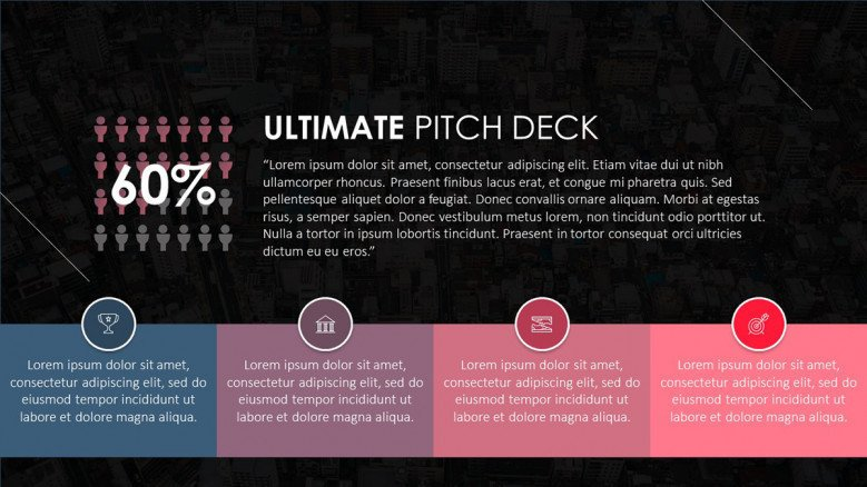 pitch deck data driven analysis in four key points with text