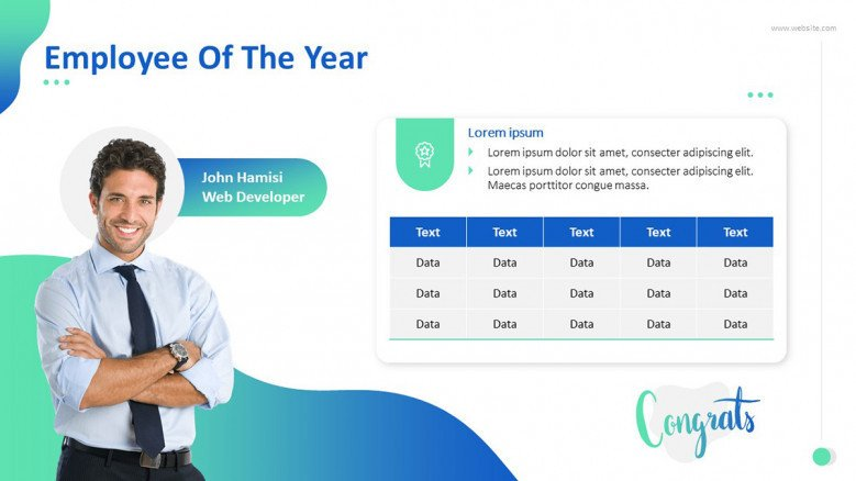 'Employee of the Year' congratulatory slide with picutre and data driven text in table