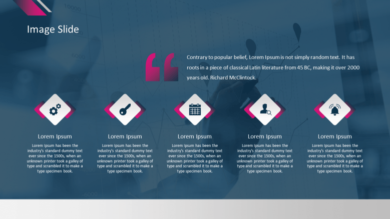 corporate presentation in image slide with five icons