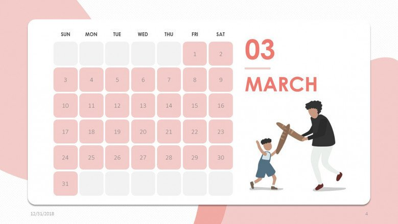 creative March slide in pink with people illustration