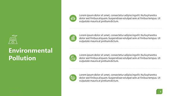Environmental overview slide in four bulletpoint key factors with icons