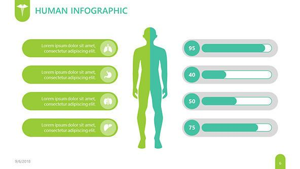 Human infographic slide in pictogram for pharmaceutical presentation