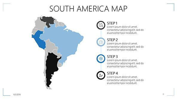 South america map in process slide with four steps