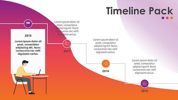 creative year timeline chart with illustration