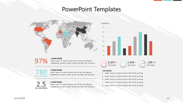 corporate slide with world map and vertical bar chart