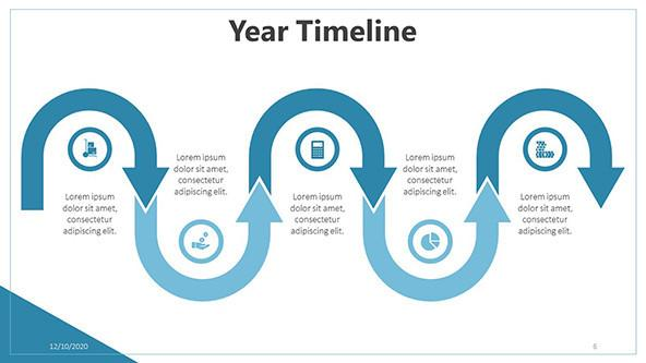 Curved Year Timeline PowerPoint Template