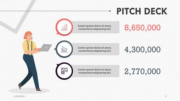 pitch deck slide with key text box and budget comparison