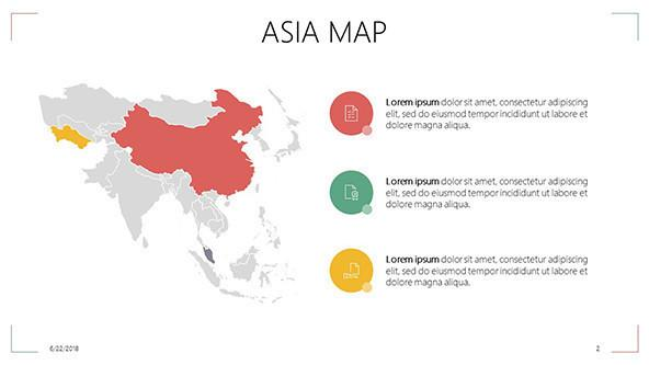 Asia map with highlighted regions and description text box