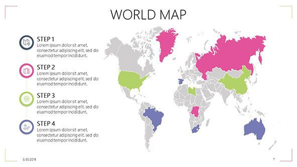 Powerpoint Global Map.Wereldkaart Gratis Sjablonen Powerpoint Presentatie