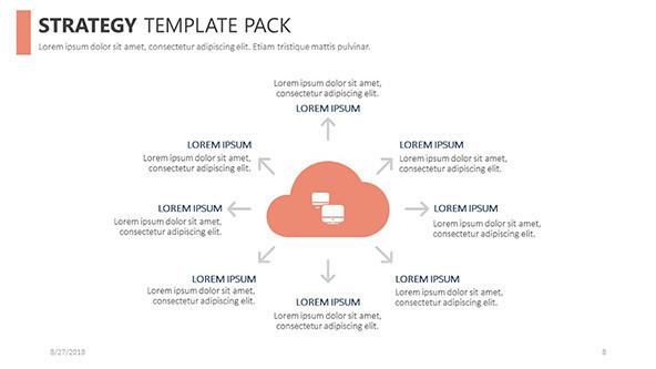 strategy slide in cloud diagram with eight key points