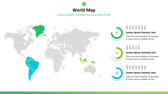 world map with pie chart and population data