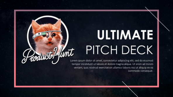 Welcome slide with Product hunt cat logo