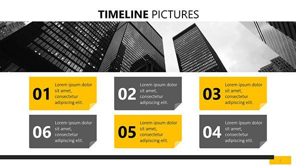 six sequenced timeline pictures slide